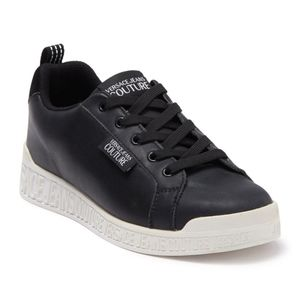 VERSACE Jean Couture Black Leather Sneakers